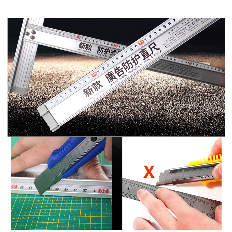 Advanced Aluminum Alloy Art Ruler Protective Advertising Ruler Precision Drawing Protection Art Anti Slip Drawing Tool
