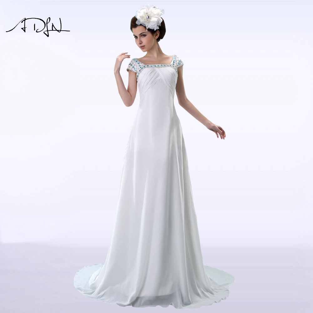 Adln Square Neckline Cap Sleeve Chiffon Wedding Dress With Rhinestones Empire Waist Plus Size Bridal Gown Robe De Mariee In Dresses From Weddings