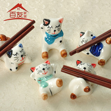 Ceramic chopsticks holder za kka for decoration kitten chopsticks pillow cartoon cat thermos