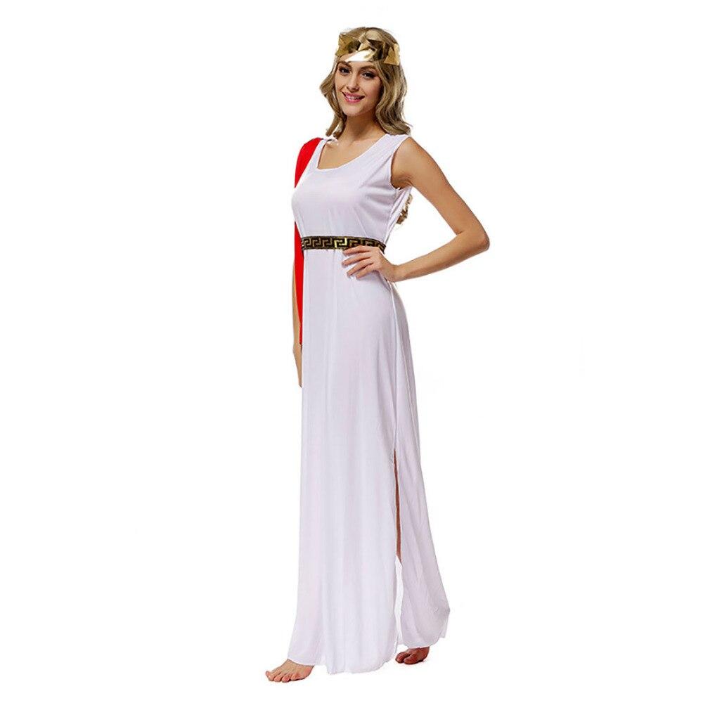 online retailer f7de6 e3b59 Dea Bianco Vestito Lungo Dio Queen Greca Costume Abito ...
