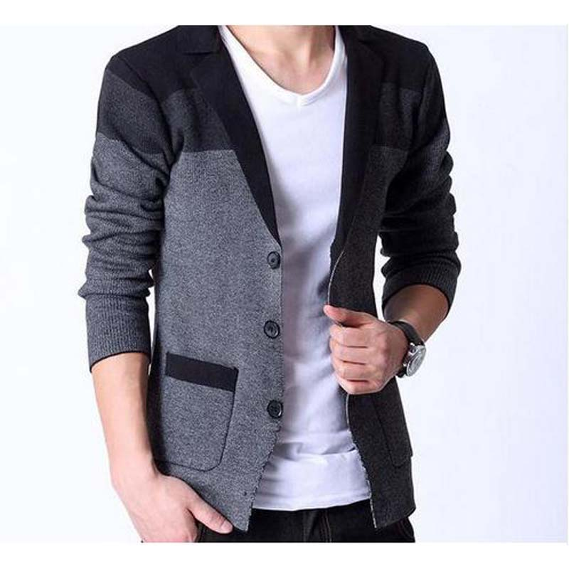 Men Blazers Fashion Stitching Knitting Men Suit Slim Autumn Cotton Jacket For Men Casual Cardigan