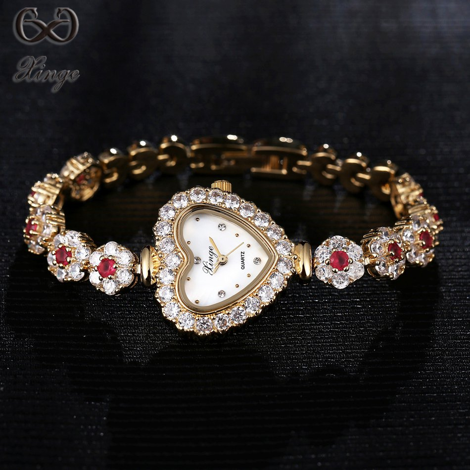 2017 Xinge Brand High Quality Watche Women Crystal Zircon Bracelet Luxury Fashion Ladies Gold Quartz-watch Dress Heart Clock china watche
