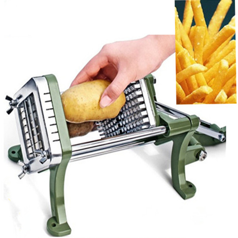 Acier inoxydable usage domestique manuel frites cutter pomme de terre, pommes de terre chips bande coupe machine main presse fruits légumes trancheuse - 4