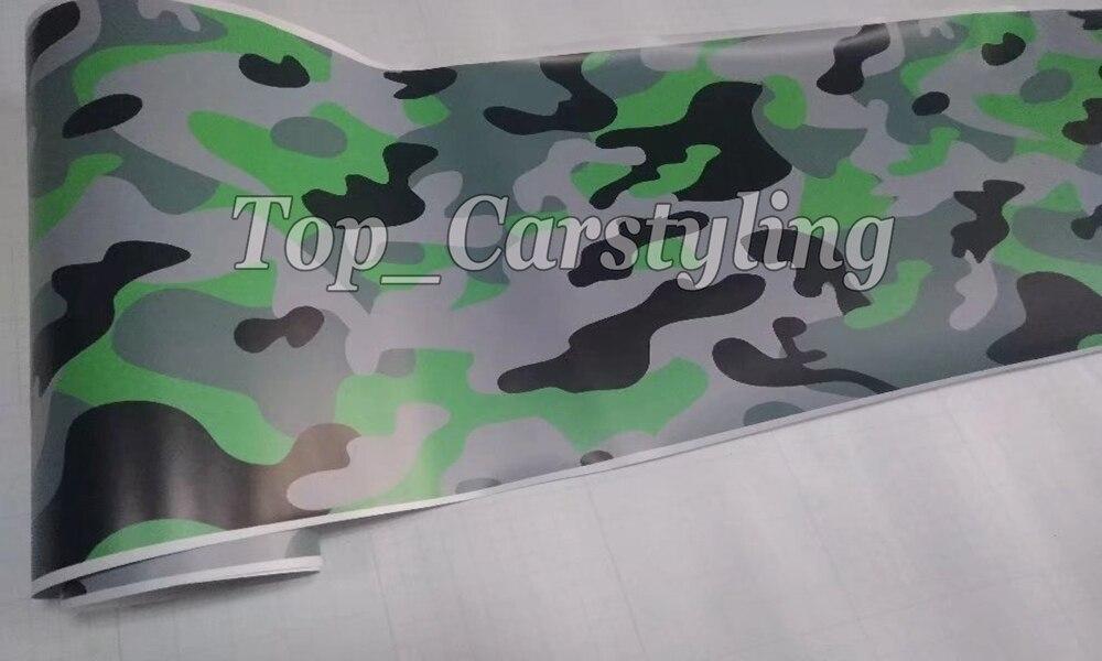 Protwraps Prime De Voiture Autocollant Vinyles Camo Vert Noir Gris Wraps Avec la Bulle Libre