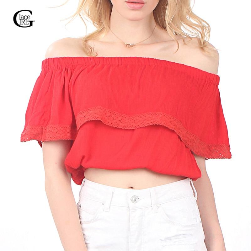 Lace Girl Summer 2017 Bohemian Crop Tops For Women Off Shoulder Shirt camisetas y Top Cuello Slash Neck Lace Splice Women Blouse