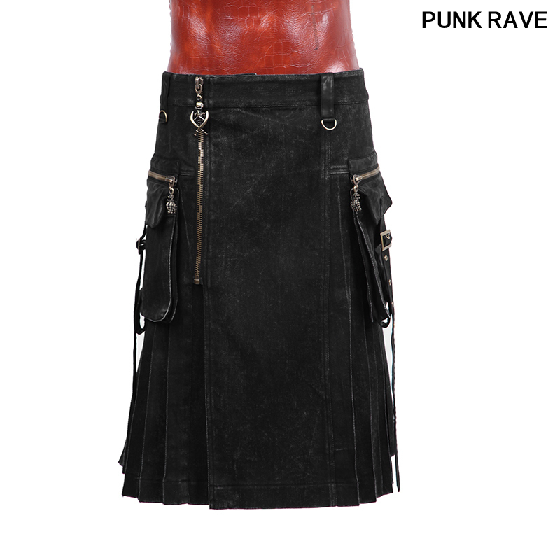 Gothic New Rock Mens Black And Grid Skirt Trousers Fashion Popular Metal Zipper Bag Decoration Skirt Pants Punk Rave Q-225
