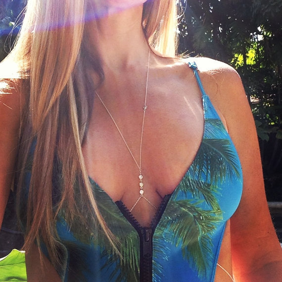 Lady Women Gold Silver Summer Bikini Rhinestone Crystal Crossover Rihanna Body jewelry Necklace chain Bodychain Jewelry D1081