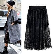 סיטונאי באיכות גבוהה 2018 חדש נשים תחרה חצאית חלול החוצה לבן שחור אביב חצאית בתוספת גודל חצאיות M 6XL