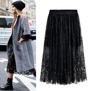 Image 1 - Оптовая продажа, высокое качество, новинка 2020, Женская кружевная юбка, ажурная белая черная Весенняя юбка, юбки большого размера