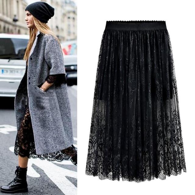 Оптовая продажа, высокое качество, новинка 2020, Женская кружевная юбка, ажурная белая черная Весенняя юбка, юбки большого размера