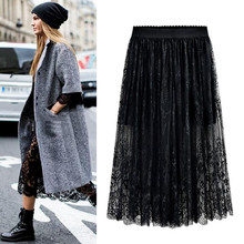 Wholesale High Quality 2020 New Women Lace Skirt Hollow Out White Black Spring SKirt Plus SIze  skirts M-6XL