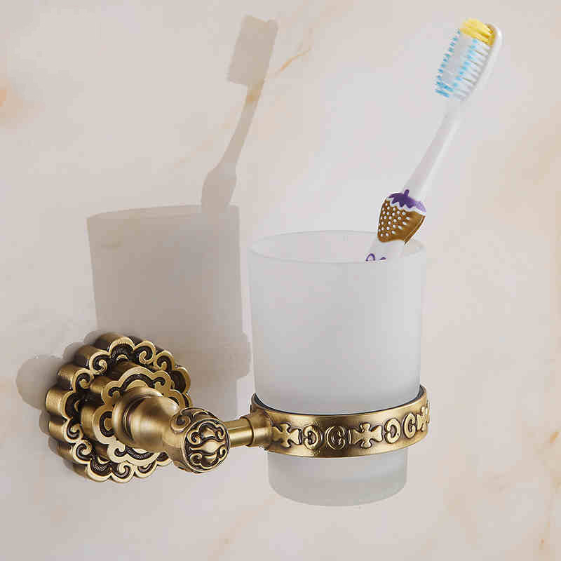 Holders Single Glass Cups Antique Brass Bathroom Toothbrush Holder Wall Mounted Retro Carved Home Deco J10702F image