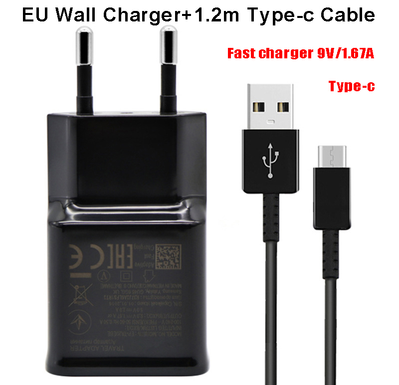 US $1 6 28% OFF|2 in 1 Wall Charger for Samsung S8 S9 Plus S 8 Fast Charger  Adaptive Quick Travel Wall Adapter Charge 1 2M Type C Cable 9V1 67 -in