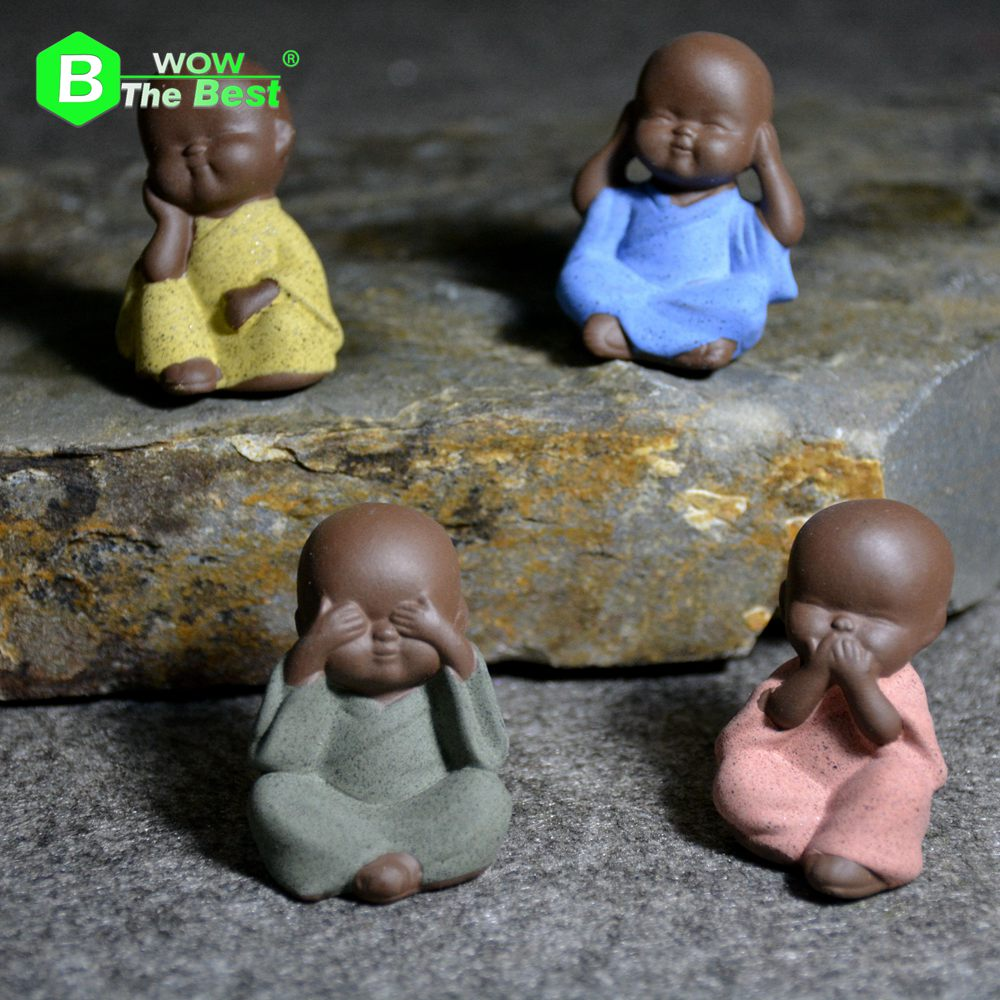 Small Buddha Statue Monk Purple Clay Figurine Crafts Creative Home Car Decorative Ornaments Buddhism Miniatures