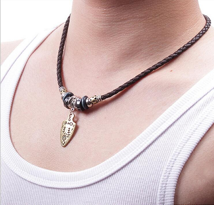 Well-liked 2016 Pendant woven leather cord necklace leather swords pendant  CK53