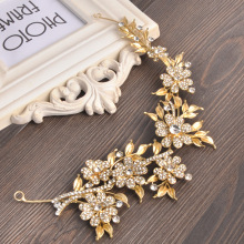 Fashion Gold Leaf Wedding Bride Head Chain Rhinestone Flower Women Metal Bridal Hairbands Headdress Prom Hair Accessories