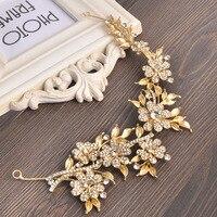 Fashion Gold Leaf Wedding Bride Head Chain Rhinestone Flower Women Metal Bridal Hairbands Headdress Prom Hair