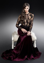 2014 Winter Latest New Fashion High Quality See Through Lace Dark Red velvet evening dresses EDM-0074
