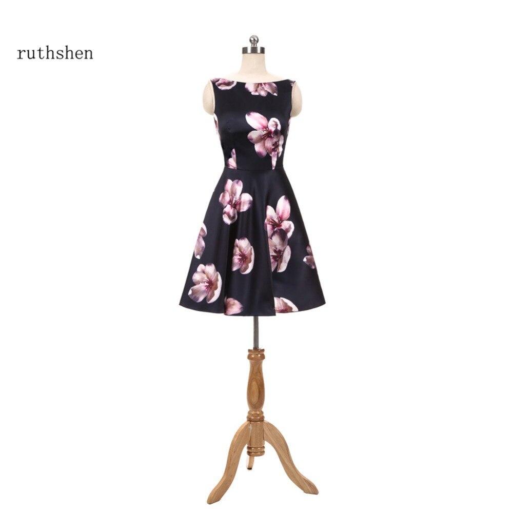 Aggressiv Ruthshen 2018 Neue Cocktail Party Kleider Günstige Floral Print Kleine Schwarze Kleid Vestidos De Coctel Über Knie Länge Prom Kleid