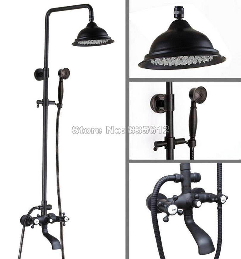 Black Oil Rubbed Bronze Wall Mounted Bathroom Dual Handles Rain Shower Faucet Set with Hold Shower Bath Tub Mixer Tap Whg103