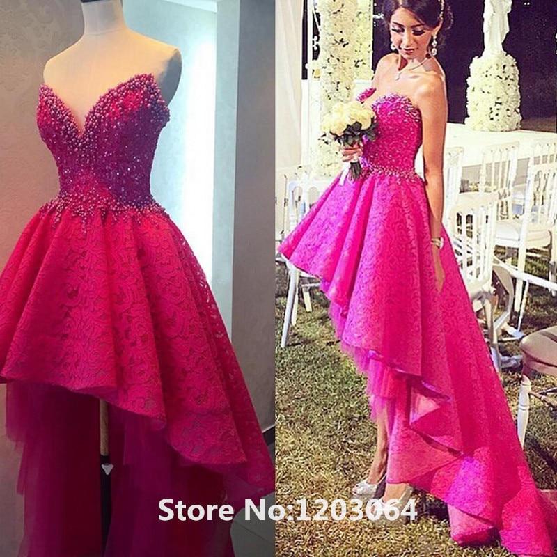 Excepcional Vestido De Fiesta Color De Rosa Caliente De Alta Y Baja ...