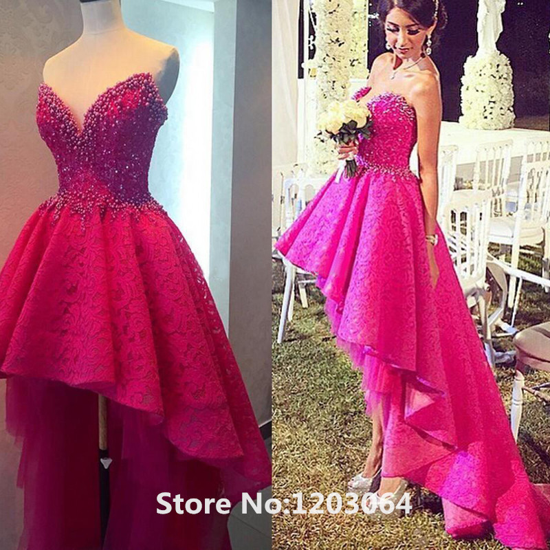 High Low Lace Prom Dresses 2016 New Style Gorgeous Sweetheart Pearls ...