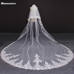 2019 New 2 Layers Lace Edge 4 Meters Wedding Veil with Blusher Cover Face White Ivory Bridal Veil with Comb Voile de Mariee