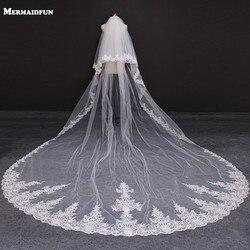 Neue 2 Schichten Spitze Rand 4 Meter Hochzeit Schleier mit Rouge Abdeckung Gesicht Weiß Elfenbein Braut Schleier mit Kamm Voile de Mariee