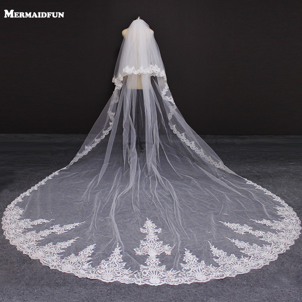 New 2 Layers Lace Edge 4 Meters Wedding Veil With Blusher Cover Face White Ivory Bridal Veil With Comb Voile De Mariee