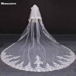 Nieuwe 2 Lagen Lace Edge 4 Meter Bruiloft Sluier Met Blusher Cover Gezicht Wit Ivoor Bridal Veil Met Kam Voile de Mariee