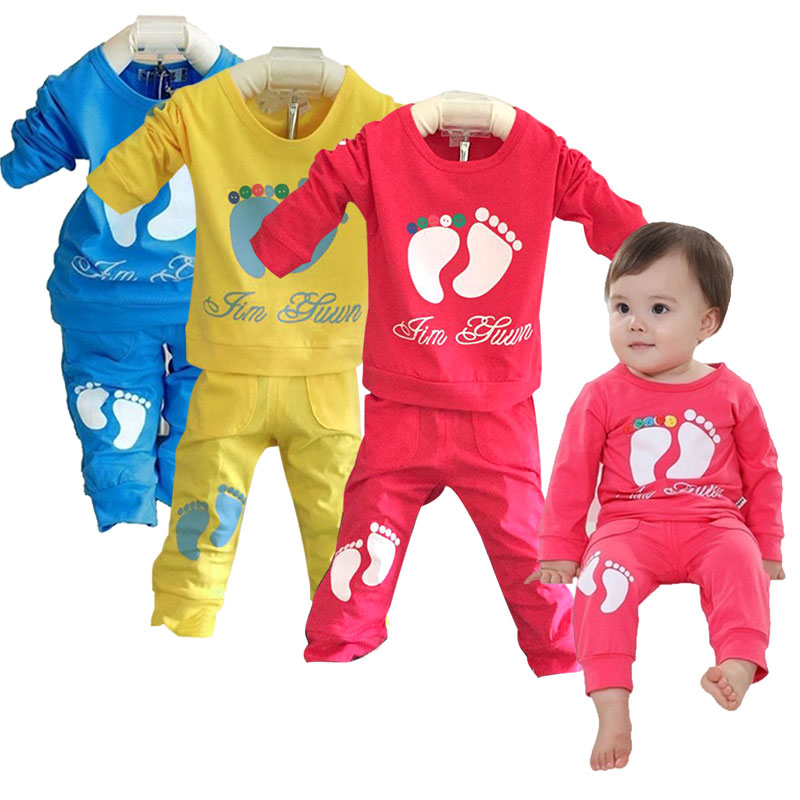 цена Children Boys Sports Suit Feet Girls Clothing Set Toddler Baby Boys Sweatshirts Outfits + Pants Set kids Tracksuit BM88