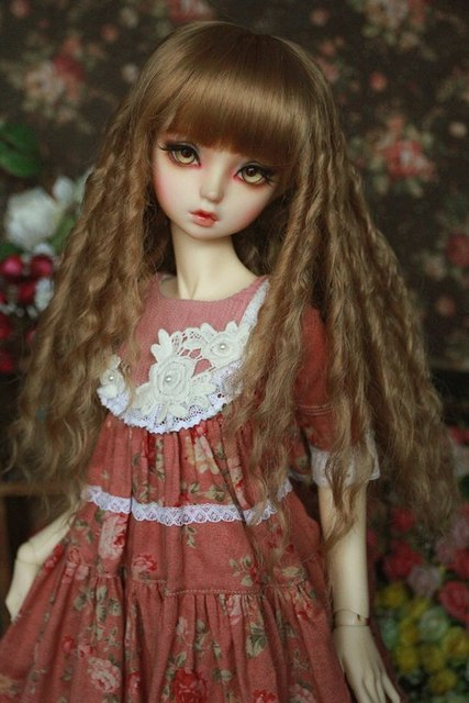 Free shipping new arrival 1/3 1/4 1/6 dd sd bjd wig long curl wig for doll