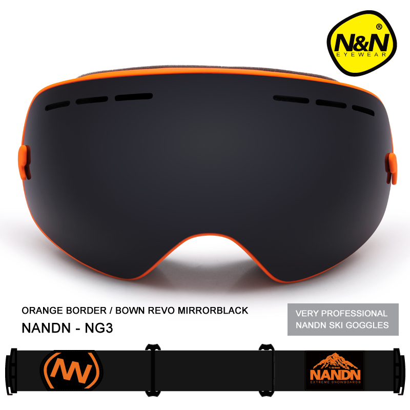 ФОТО 2016 New NANDN Skiing Goggles Big Spherical Men Women Snowboard Sports Ski Goggles Anti-fog Lens Professional Ski Glasses NG3