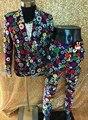 (Куртка + брюки) Ночной Клуб DJ Певец Тонкий костюмы набор Партия шоу выступление одежда Певица танцор этап одежда
