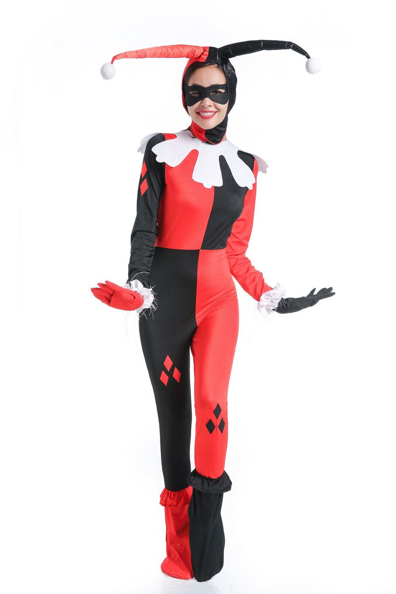 Industrious Halloween Sexy Red Black Plaid Harley Quinn Jumpsuit Sexy Clown Circus Fantasia Costume Magic Burlesque Show Clothing