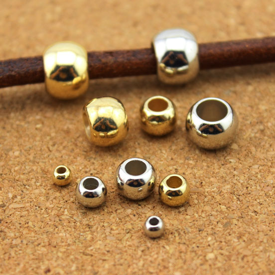 XINYAO-100pcs-Dia-4-6-8-10-12mm-Big-Hole-Beads-Gold-Rhodium-Color-Spacer-Beads (2)