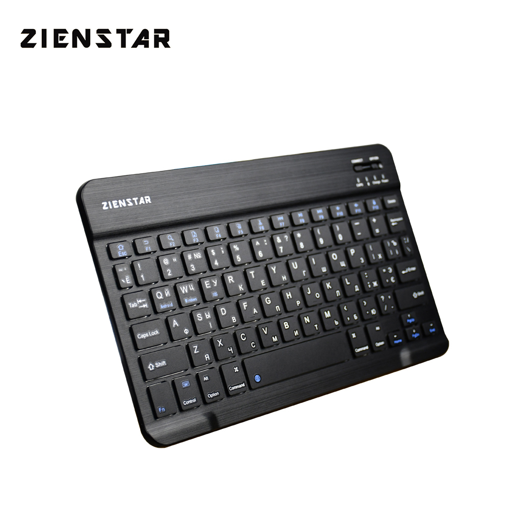 Zienstar Ultra Slim Russian Bluetooth Wireless Keyboard For IPAD,MACBOOK,LAPTOP, Computer PC And Tablet,Rechargeable Battery