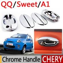 Для Chery QQ A1 хромированные покрытия для дверных ручек набор из 8 шт. QQ3 QQ6 Sweet IQ MVM110 Kimo аксессуары наклейки для автомобиля-Стайлинг
