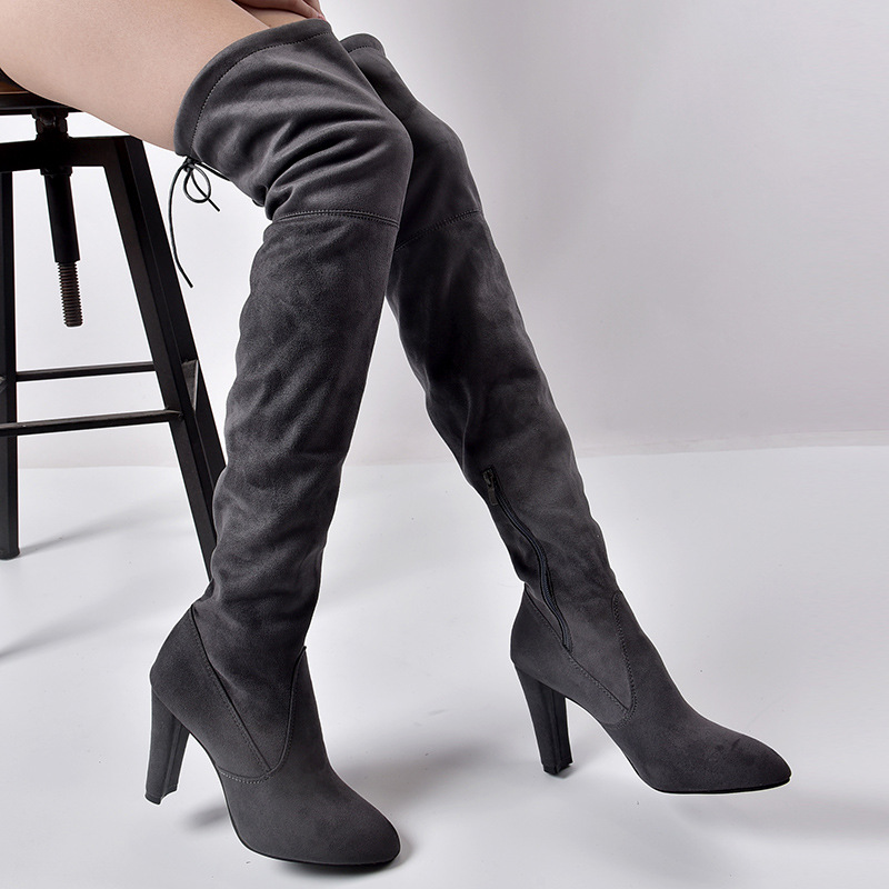 Women's Flock Leather Over The Knee Boots Size 34-43 17