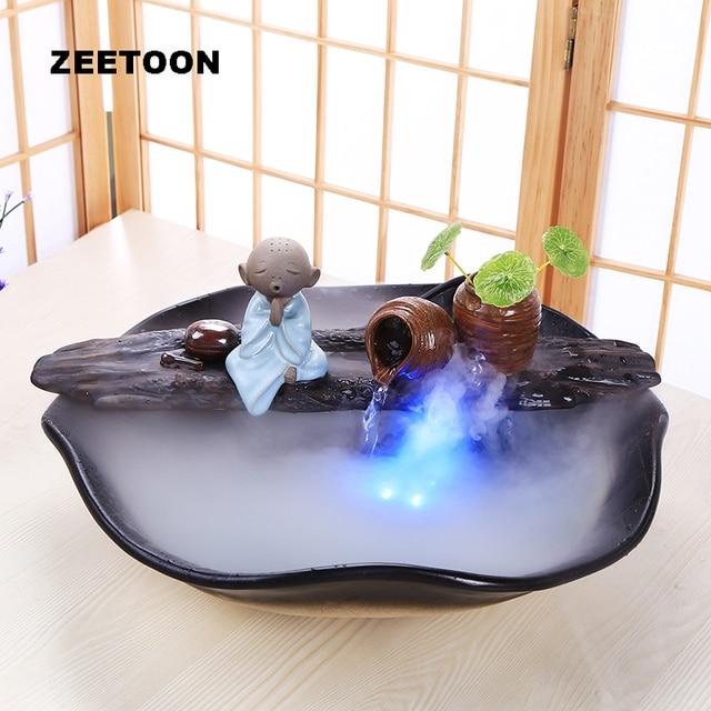 110v 220v Diy Water Fountain Air Humidifier Feng Shui Lucky Home Decor Little Monk Desktop