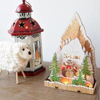Деревянные светящиеся елочные украшения светодиодный свет Санта Клаус Лось орнамент Новый год Рождество Дети подарок домашний декор