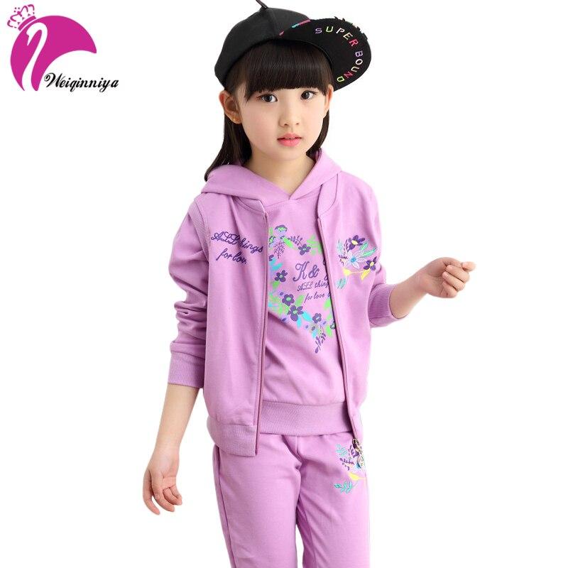 Kids Baby Girls Clothing Sets New Spring&Autumn Fashion Style Printed T-Shirt+Pants+Vest 3Pcs Children Girls Clothes цены онлайн