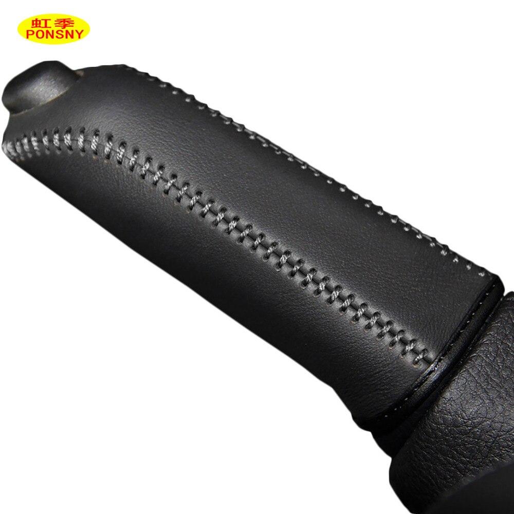 PONSNY Car Handbrake Covers Case For BMW 320i Genuine Leather Auto Handbrake Grips Black Cover