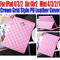 10pcs/Lot Smart Case For IPad Air/Air2 For iPad mini 4/3/2/1 Fashion Crown Grid Style PU Leather Cover for iPad 4/3/2 IM411