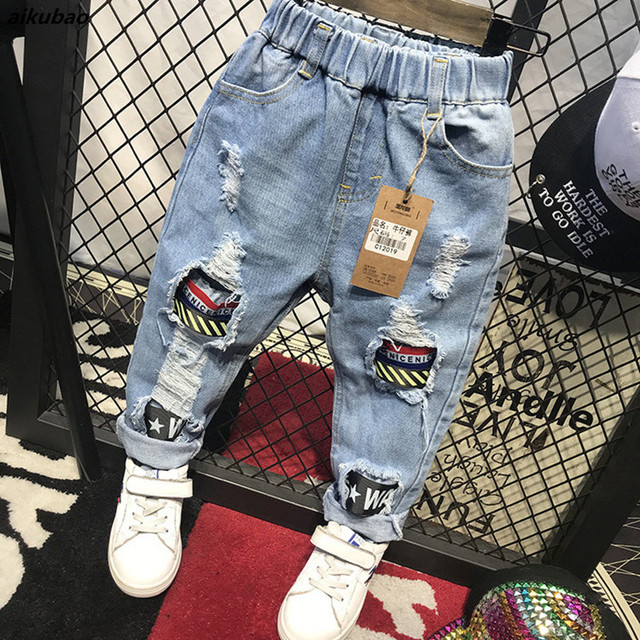 8253dae90 childen boys jeans pants 2018 new spring autumn children's jeans pants soft  style free shipping baby boys girl hole jeans pants