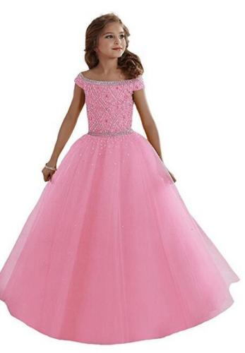 In Stock Size Pink Flower Girl Dress Girls Princess Dress Prom Ball Gowns Hot in stock layered pre teen party gowns little girls pageant dress pink color
