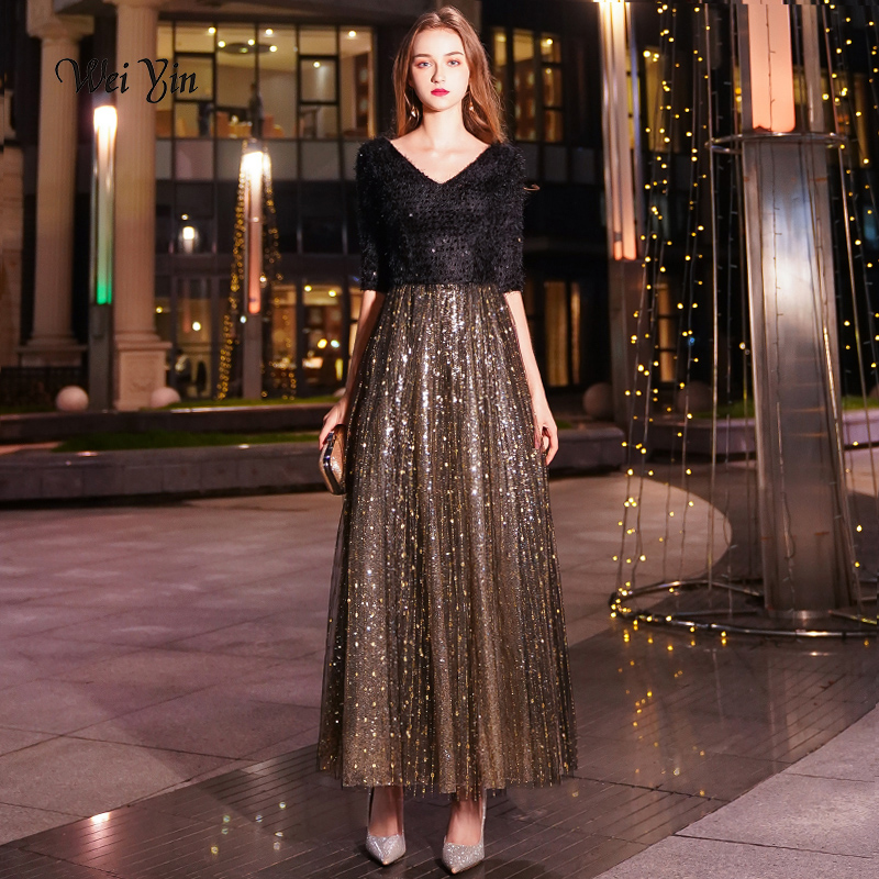 weiyin Black A-line Long   Evening     Dress   V-neck Half Sleeves Ankle Length Lace   Evening     Dress   Formal Party   Dress   Prom   Dress   WY1205
