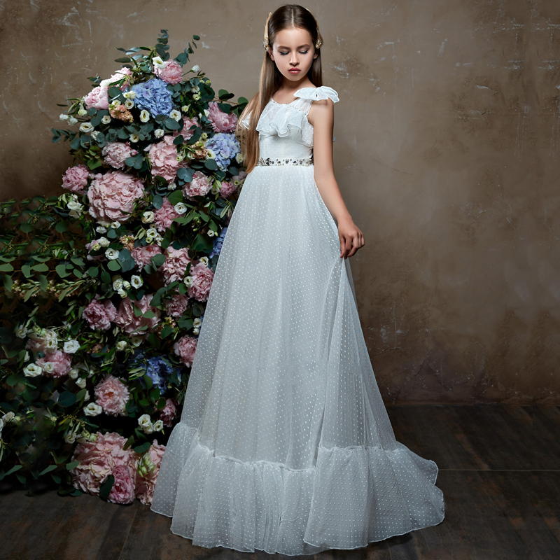 New Arrivals Elegant Girls Tulle Sleeveless One Shoulder A-line Flower Girl Dresses Princess Party Wedding Gowns with Beading