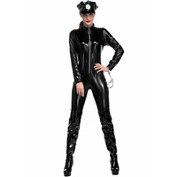 Erotic Women Sexy Lingerie Leather Bodysuits Policewoman Cosplay Set Bodycon Jumpsuits Cop Costume Female Overalls Rompers