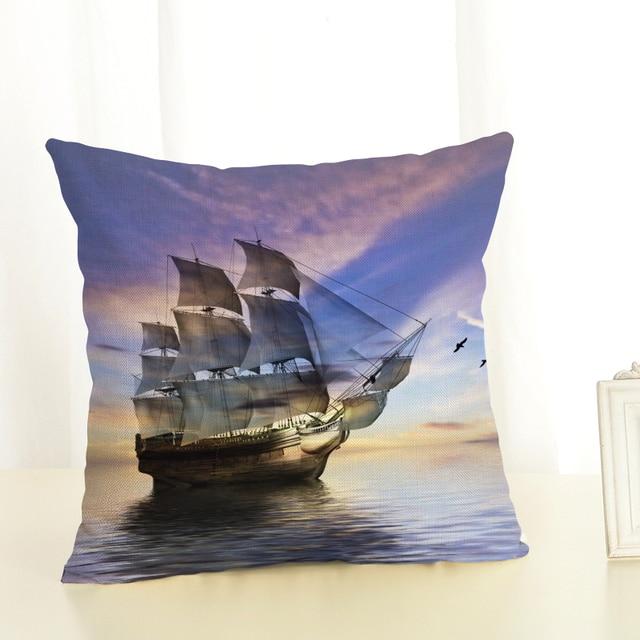Big ship Sofa Cushion Case Home Decor 45Cmx45Cm linen Square Sofa Bed Car print Pillow Cover Linen cushion cover 2